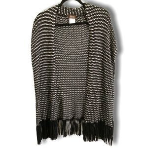 IPERICO MADE IN ITALY FRINGED PONCHO STYLE WRAP OS